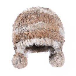 China New Women Hat Autumn&Winter Fashion Rabbit Fur Hat Fashion Solid Color Fur Warm Ear Protector Ladies Wholesale NA05 supplier rabbit fur hat ears suppliers