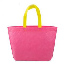 Orange green handbag online shopping - Women Non woven Bag Grocery Eco friendly Tote Reusable Portable Bags Candy Color Waterproof Strong Folding Handbag PPA183