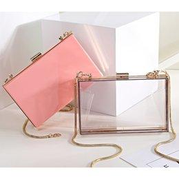 Discount simple evening clutch bags - Transparent Style Simple Casual Acrylic Chains Handbag Women Purse Fashion Party Evening Shoulder Bag Wallet Mini Flap 4