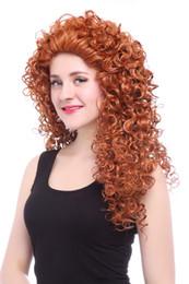 Discount orange curly hair - Brave Merida Cosplay Wigs Long Curly Wavy Wave Orange Brown Women Anime Hair Wig