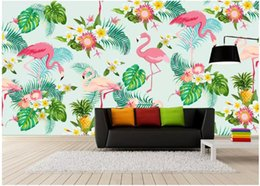 Photos house Plants online shopping - 3d wallpaper custom photo mural Hand drawn flowers flamingo tropical plants backgrond wall Home decor living Room wallpaper for walls d