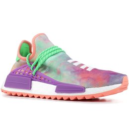 Racing shoes men online shopping - PW Human Race Hu Trail X Men Running Shoes Pharrell Williams Nerd Black White Cream Tie Dye Sun Glow Womens Trainers Sports Sneakers