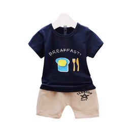 egg shirt 2019 - Summer New Fashion Children Boys Girls Cotton Suit Toddler Tracksuits Baby Cartoon Poached Egg T-shirt Short Pants 2Pcs