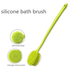 Massage shower brush online shopping - Hypoallergenic Silicone Bath Brush Exfoliator Massage Brush With Long Handle Body Brush Cleaning Shower Scrubber For Back Bath Supplies