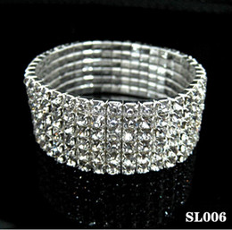 Discount rhinestone ring bracelet set - 1 2 3 4 5 6 7 8  9 Rows Crystal Rhinestone Bracelet Stretch Bracelet Bangle Bling Wristband Women Wedding Bridal Bracele