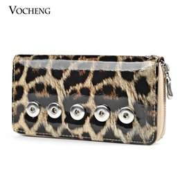 VOCHENG NOOSA Interchangeable Jewelry Leopard Print PU Wallet with 18mm Ginger Snap Button Women Wallet (NN-176)