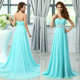 Stunning Teal Chiffon Dresses Light Blue Prom Dress A-Line Sweetheart Ruched Sweep Train Appliques Crystals Bridesmaid Gown for Wedding