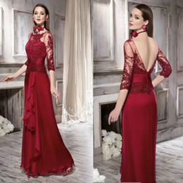Formal evening dress lavender scoop line online shopping - Stunning Chiffon Lace Mother Formal Wear Half Sleeve Sheer Red Evening Dress Party Mother Of The Bride Dress Suit Gowns Formal Custom