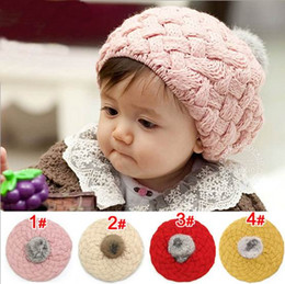 children caps, kids New Fashion sweet cute baby hats, girls Little princess ball wool hat, 5pcs/lot , dandys