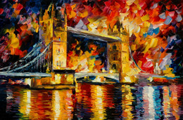 Free Shipping Hot Sell Modern Wall Painting Home Decorative Art Picture Paint Canvas Prints Color painting Sea sailing London Tower Bridge