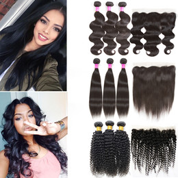 Discount medium length weaves - Peruvian Kinky Curly Hair Weave Frontal Lace Closure Body Wave Grade 8a Human Hair Bundles Lace Frontal Cheap For Sale R