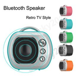 Discount bt portable speaker - mini portable classic TV Microwave bluetooth speaker outdoor subwoofer BT V3.0+EDR supports TF AUX for iphone Android ph