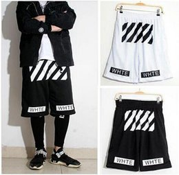 Off white twill printed leisure sports men and women basketball shorts Pyrex hight quality free shipping