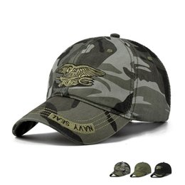 Discount tactical army hat - High Quality Camo Baseball Cap Men Camouflage Navy Seal Tactical Cap Mens Hats and Caps Bone Army Snapback for Adult