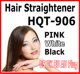 Hair Straightener Flat Iron HQT-906 Hair iron Straightening Brush Hair Styling Tool comb With LCD BLACK WHITE PINK US EU UK AU free LOGO ok