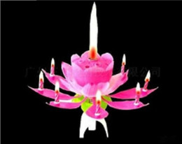 2017 Pink Scented Candles Offer Candle Lamp No Red Velas Decorativas Beautiful Birthday Gift Flower Music Lotus New Candles Petal for Party
