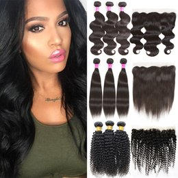 Discount medium length weaves - Brazilian Body Wave Straight Kinky Curly Virgin Human Hair Wefts with Closure Remy Hair Weave Bundles and 13x4 Lace Fron