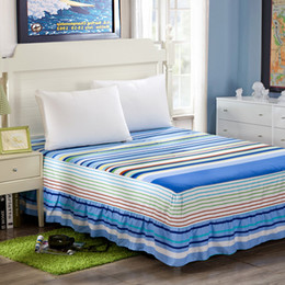 queen ice 2019 - Wholesale-100% cotton Bedskirt print bedspread twin full queen king size bed skirt mattress protective case cover cheap