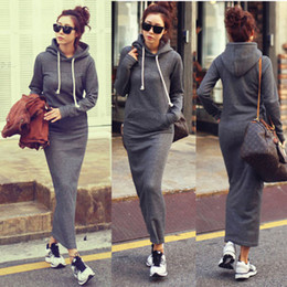 Hot Fashion Autumn Fall Winter Women Black Gray Sweater Dress Fleeced Hoodies Long Sleeved Slim Maxi Dresses S M L XL XXL Winter Dress M176
