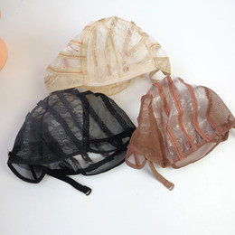 Weaving cap for Wig Wholesale online shopping - Wig Caps For Making Wigs adjustable straps back swiss lace full front lace wig cap wig weave net hair extension