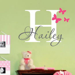 Customer-made Personalized Any Name and Butterfly Wall Decals Vinyl Wall Art Stickers Bedroom Home Decor