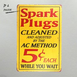 Perfect holiday gift online shopping - DL Spark Plug Vintage Sign drilled and riveted ready to hang The Perfect spark plug advertising sign for any garage or shop