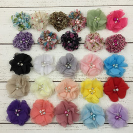 2015 26colors Chiffon Flowers With Pearl Rhinestone Center Artificial Flower Fabric Flowers Children Hair Accessories Baby Headbands Flower