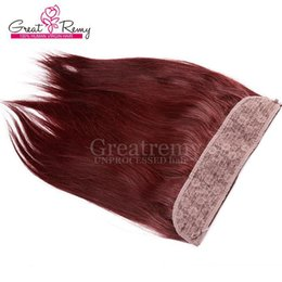 burgundy human hair straight 2019 - (Color #18 #22 #Burgundy Available) Greatremy Brazilian Flip In Hair Extension Cheap Brazilian Straight Flip On Remi Hum