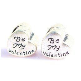 China BE MY VALENTINE Bead Pendants For Pandora Bracelets Mix Silver Big Hole Beads Loose Beads Charms For DIY European Jewelry Accessories suppliers