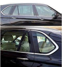 bmw door sills 2019 - 10pcs Stainless Steel Door Full Window Sill Frame Molding Trim For BMW X5 E70 2008-2013 Free discount bmw door sills