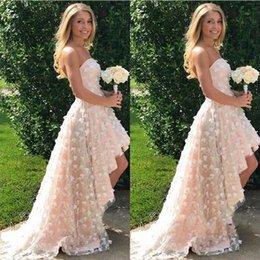 Beach women images online shopping - 2018 Spring Summer Garden Beach Blush Pink Bridesmaid Dresses Strapless High Low Women Occasion Evening Prom Gowns Petal Flowers
