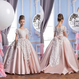China 2016 Vintage Pink Ball Gown Lace Flower Girls Dresses For Weddings Short Sleeve Little Girls Dress Special Occasion Long Flower Girls Gowns cheap vintage royal princess wedding dresses suppliers