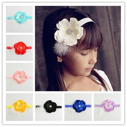 Children's Hair Accessories Baby Feather Headband Girl Rhinestone Peony Flower for Headbands Infant Elastic Hair band Newborn Hair Bows