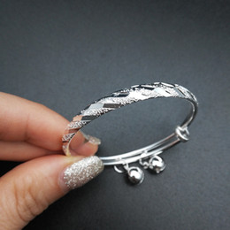 online shopping Children s Jewelry Silver Plated Meteor Embossing with Bells Charms Adjustable Bangles Bracelets for Baby Toddler Kids Girls