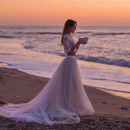 Cap sleeve sheer top long dresses online shopping - New Sexy Crop Top Tulle Wedding Dresses Lace Skirts See Through Chapel Train Tulle Cheap Boho Summer Beach Bohemia Bridal Wedding Gowns