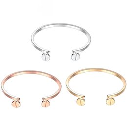 European and American fashion personality jewelry bangle pin head platinum rose gold 18k gold open bracelet