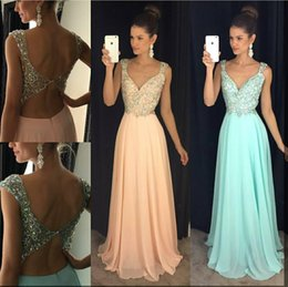 Discount plus size mint green formal dresses - Prom Dresses 2016 New Sexy Crystal Beads V Neck Cap Sleeves Long Backless Peach Mint Chiffon Formal Plus Size Evening Dr