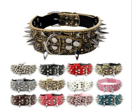 Discount extra large dog collar mastiff - Spiked Studded Pu Leather Pet Dog Collar For Pitbull Mastiff 4 Size for Many Breeds G1013