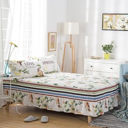 Discount queen ice - Wholesale-100% cotton Bedskirt Flowers and birds print bedspread twin full queen king size bed skirt mattress protective