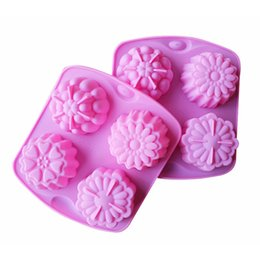 Chinese  free shipping factory Flower shape Muffin case Candy Jelly Ice cake Silicone Mould Mold Baking Pan Tray 4 even manufacturers