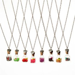 Chinese  Crystal diamond dry flower drift wishing bottle heart pendants Necklaces for women lover gemini necklace DIY jewelry Christmas gift 161547 manufacturers