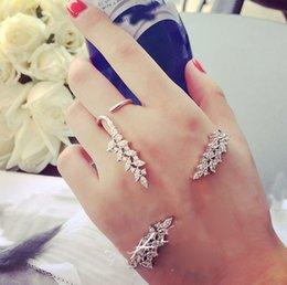 rhinestone ring bracelet set 2019 - Fashion Silver Tone Crystal Leaf Open Palm Bracelet Ring Jewelry Set Women Wedding Jewelry Set Wholesale 10 Set cheap rh