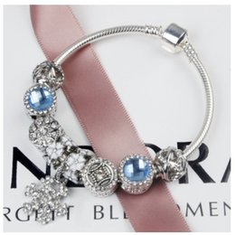 pandora charm beads stone 2019 - 2017 Newest Charm Bracelets Blue Crystal Cat's Eye Stone Snowflake Dangle Charms Spacer Loose BeadFor Women Origina