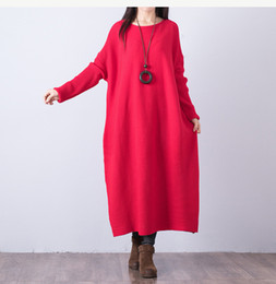 Ankle length cAsuAl winter dresses online shopping - Autumn Loose Women Dress Winter Casual Brief Pullover Solid Color Warm Large Swing Female Vestidos Mujer