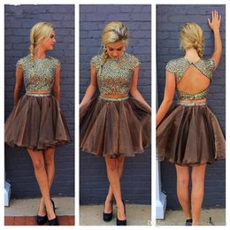 Champagne organza CoCktail dresses online shopping - Stylish Two Piece Chocolate Short Homecoming Dresses Open Back Cap Sleeves Prom Dresses Organza Backless Cocktail Dresses Short Party Dress