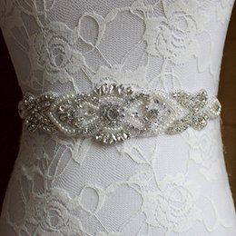 Discount pearl belts for dresses - Wholesale- Handmade Pearl Designers Luxury Female Floral Dress Women Belts High Quality Diamond Waistband Girdle Headban