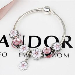 Discount pandora charm beads stone - 2017 Newest Charm Bracelets Pink Magnolia Poetic Flower Blossom CZ Crystal Cat's Eye Stone Charms For Women Origina