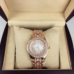 Discount full diamond watch gold - High Quality 2016 New Fashion Style Women Watch With full diamond Silver rose gold gold Lady Watch Steel Bracelet Chain