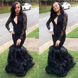 2017 Sexy Backless V Neck Black Long Mermaid Prom Dresses Ruffles Long Sleeves Formal Party Gowns Evening Gown Vestido De Noche