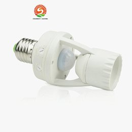 Base plastics online shopping - AC V Degrees W PIR Induction Motion Sensor IR infrared Human E27 Plug Socket Switch Base Led Bulb Light Lamp Holder